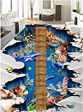 Mznm mznmcustom Wandbild 3D Bodenbelag PVC Selbstklebende Tapete Sea World Hängebrücke Dolphin Painting 3D Wandbild Tapete 400x280cm