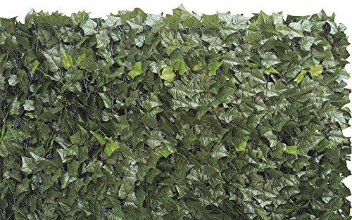 VERDELOOK Sempreverde Double, Siepe Artificiale 1x3 m, Foglia edera su Due Lati, per arredo Giardino