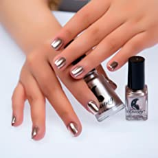 Forthery Mirror Silver Nail Polish Mirror Nail Polish Plating Paste Metal Color Stainless Steel Silver 6ml Glod