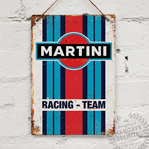 Martini Racing–Réplica Vintage placa metálica para la pared Retro pub bar Mancave garaje cobertizo, 28x20cm STICKY PADS