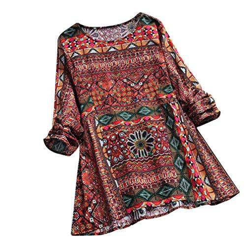 VEMOW Sommer Herbst Elegante Damen Frauen Floral Printed Langarm Beiläufig Täglichen Party Workout Tunika Swing Tops Shirt Bluse Hemd (Rot, EU-46/CN-L)
