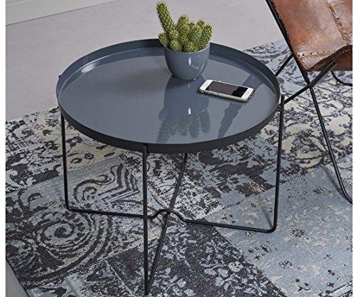 ComptoirXL Table d'appoint Design Lucy diamètre 60 cm en émail Gris et Acier Noir