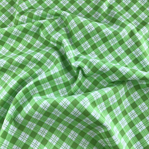 Grün kariert Winceyette Gewebe der Uni 100% gebürsteter Baumwolle Flanell Biber 114,3cm 114cm breit-Meterware -