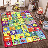 How Many are There? teytoy Baby Rug for Crawling, Educational Kids Area Rugs Play Mat for Toddlers Room Decor, Count Game, Learn Animals, Expressions Carpet Outdoor Indoor 3.4