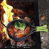 HUKOER 14Sets 1-2 Personen Outdoor Camping Kochgeschirr Campingküche tragbare Kombination Geschirrsets Picknick Reise Küchenausstattung Topf und Pfannenset Pot Pan Sets(grün + grau) -