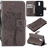Sunrive Hülle Für LG K9, Magnetisch Schaltfläche Ledertasche Schutzhülle Case Handyhülle Schalen Handy Tasche Lederhülle(Prägung Baum Grau)+Gratis Universal Eingabestift