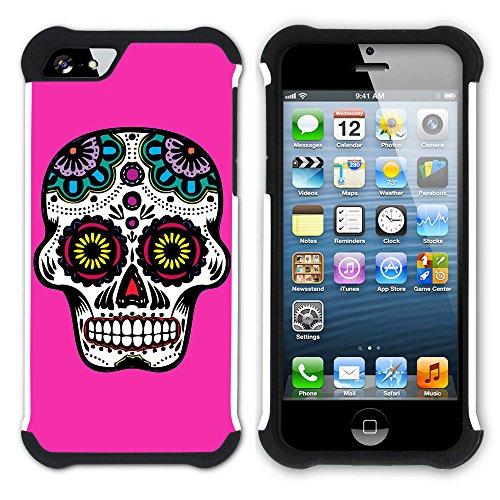 Graphic4You Mexikanische Zuckerschädel Tod (Wasserblau) Hart + Weiche Kratzfeste Hülle Case Schale Tasche Schutzhülle für Apple iPhone SE / 5 / 5S Fuchsie