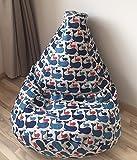 Sitzsack für Kinder Leinen Bezug Natürliche Stoffe Wal Muster Kindersitzsack Blau Sitzkissen Sessel Originelle Geschenkidee Mit Inenbezug OHNE FÜLLUNG