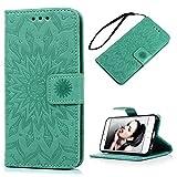 Geniric iPhone 6 Hülle Pincenti PU Leder Flip Wallet Cover Stand Case Card Slot Leder Tasche Karteneinschub Magnetverschluß Kratzfestes in Mint Green Sonnenblume für iPhone 6/iPhone 6S