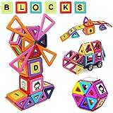 MOVEONSTEP Blocchi Costruzioni Magnetiche 80 Pezzi Blocchi di Costruzione Giocattolo Educativi Magnetiche Regalo per Bambini 3+- Arcobaleno Colori