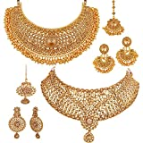 #5: Apara Sparkling Gold Plated LCT Necklace Jewellery Set Combo for Women