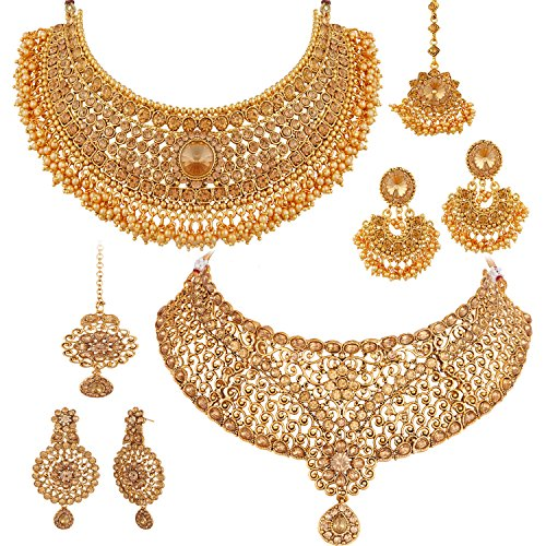 Apara Sparkling Gold Plated LCT Necklace Jewellery Set Combo for Women