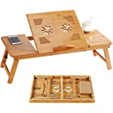 Bamboo Laptop Table Folding Desk Stand Bed Tray Adjustable Height Tilt Angle with Fan Shape Ventilation Hole Side Drawer Phon