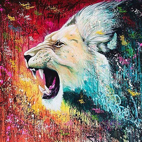 Qiulv Coloré Lion Diamant Peinture DIY 5D Plein Percer Résine Multicolor Animal Photo Arts Artisanat Mur Autocollants,Circulardiamond,90 * 90Cm