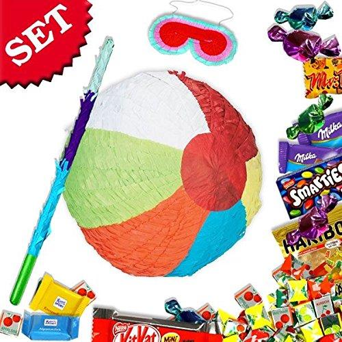 Beach Ball Pinata zum Schlagen mit Süßigkeiten +Zubehör für Strandparty Spiele