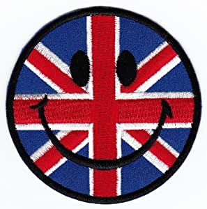 Union Jack UK Smiley Badge coudre/thermocollant patch CA. 7,5x 7,5cm