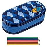 2 Teile SET: YZEA Mäppchen ETUI BOX by Take it Easy + 6er Pack Buntstifte (CLOUD 012 Dunkelblau)