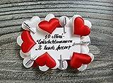 10 Miniwäscheklammern mit weißem und rotem Satinherz