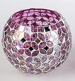Wunderschönes Windlicht ~ Mosaik rosa ~ Glas Tischdekoration Ø 12 cm Dekoration