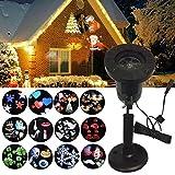 Oshide LED Projecteur de 12 Motifs Lumière Extérieur Lumière De Jardin Lampe Décorative Eclairage Etanche Extérieure Paysage Décor Fête Noël Partie Soirée Projector Light(IP65)
