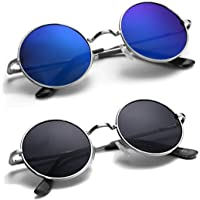 HIPPON UV Protection Round Unisex Sunglasses (Black, Blue) - Pack of 2