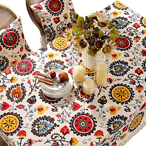 KSWD Ethnischer Stil Tischdecke, Vintage Baumwolle Leinen Spitze Tischtuch Tischwäsche,140 * 200cm