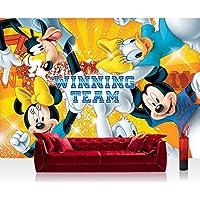 Papel Pintado Fotográfico Premium Plus fotográfico pintado–cuadro de pared–Papel pintado Disney Disney–Mickey Mouse–Niños Dibujos animados Comic Amigos Team Winning Amarillo–No. 314, mehrfarbig, gelb, Fototapete 400x280cm | PREMIUM PLUS