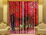 H&M Gardinen Vorhang Maple Ye Shulin EIN Warmer Schatten Tuch UV-Druck 3D dekoriert Vorhänge Schlafzimmerfenster fertig, Wide 2.64x high 2.13