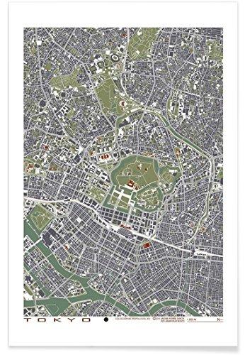 """JUNIQE® Poster 80x120cm Stadtpläne Tokio - Design """"Tokyo Engraving"""" (Format: Hoch) - Bilder, Kunstdrucke & Prints von unabhängigen Künstlern entworfen von Planos Urbanos"""