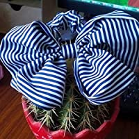 Spritech (TM) tessuto effetto seta, con motivo a fiocco, con motivo a gallo-Supporto per accessori per capelli con fiori, Blu e bianco, taglia unica