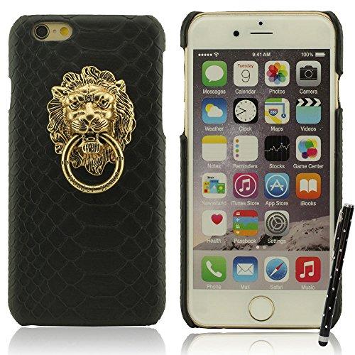 iPhone 7 Hülle Case Bumper Hart Kunststoff Gel Schutzhülle Kreativ Metall Löwenkopf / Ring Halter Dünn Licht Handyhülle für Apple iPhone 7 4.7 inch X 1 Stylus-Stift -