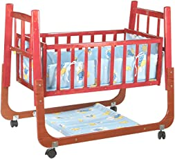 Mee Mee Baby Cradle with Swing and Mosquito Net, Compact, Wooden