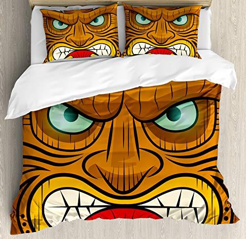 ettbezug Set King Size, Wütendes Gesicht Totem, Kuscheligform Top Qualität 3 Teiligen Bettbezug mit 2 Kissenbezüge, Mehrfarbig ()