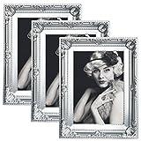 WOLTU 3er Packung Bilderrahmen 13x18cm Bild Rahmen Foto Galerie Bilder Collage Plastik Barock Silber,BR9748sb-3