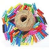 Trixes 100 Stück Farbige Klammern aus Holz und 80m Schnur als Halter für Fotopapier Fotohalter DIY Wäscheklammern UVM