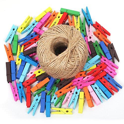 100 PZ Set Mollette e 80 m di Spago - Per Appendere Foto, Elementi Artistici e Decorazioni per la Casa - Mollette in Legno Multicolore - Fai-da-te - Sostegno Foto e Carta - TRIXES