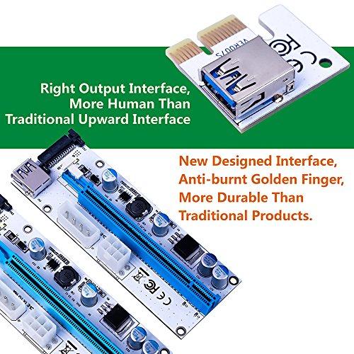 wonoovi PCIe Riser Adapter ver-008S PCI-E 16X to 1X 60cm USB 3.0Verlängerung Kabel & 4pol 6pinb zu SATA Power Kabel–ethereum Bergbau ETH - 2