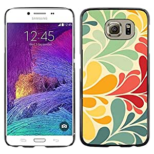 Omega Covers - Snap on Hard Back Case Cover Shell FOR Samsung Galaxy S6 - Wallpaper Pastel Teal Yellow