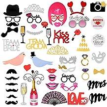 Photo Booth Props - RYMALL 53 Tlg Geburtstags Hochzeits Partei Funny Verkleidung [erforderlich, Schnurrbart, Hüte, Brillen, Mund, Krone, Ring, Herr Frau, Liebe Vogel ] Dekoration Fotorequisiten Set