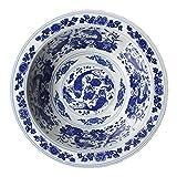 Lixue extra grandes Gigantes pescado de cerámica para sopa Frutas Ensaladera Gran Capacidad pintadas a mano azul y blanco porcelana Platillos Colección Decoración compartimento (tamaño: 12inches)
