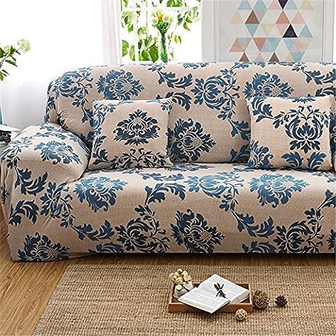 Spandex stretch Housse de canapé, Polyester Imprimé floral Tissu antidérapant élastique Slipcover meubles Protector Canapé Canapé Housse, Polyester, C: 3 Seater (74