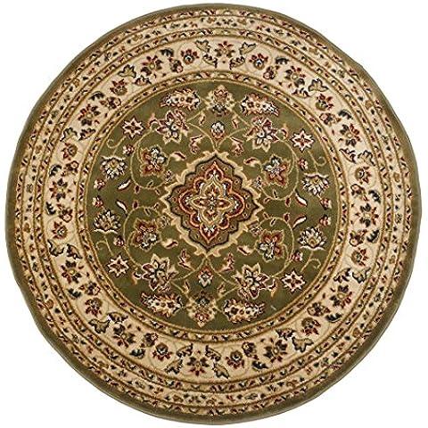 Tappeto orientale, tondo e classico in stile persiano tradizionale, con motivo floreale, colore verde, 133 x 133 cm