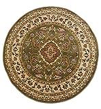 Klassischer Orient Perser-Stil Blumen Traditioneller rund Teppich/Matte, grün–133x 133cm