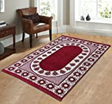 Zircone Ethnic Premium Design Chenille Carpet/Mat (5 ft x 7 ft ) For Living Room/Bedroom/Drawing room & Dining Hall (Maroon)