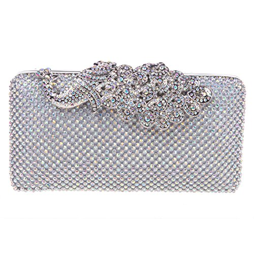 Bonjanvye Peacock Pattern Clutches for Womens with Studded Rhinestone Bag AB Gold AB Silver