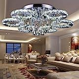 fsders Vingo LED Kristall Deckenleuchte Deckenlampe Modern Kronleuchter Pendelleuchte Hängeleuchte Energie Sparen Einstellbar für Wohnzimmer Küchen Schlafzimmer mit Fernbedienung, Glas, 12 W, 88w