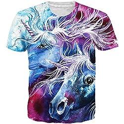 Goodstoworld 3D Impreso Unicornio Camiseta para Hombres Mujeres Verano Divertido Casual Camiseta de Manga Corta Tops Ropa Medio