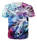 Goodstoworld T Shirt 3D Druck Herren Damen Unicorn Einhorn Print Sommer Lustige Beiläufige Kurzarm Partner T-Shirts T-Stücke S
