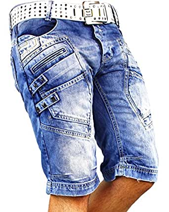RedBridge Herren Shorts Sport-hose Jeans Streetwear Sweatpants Capri Blau 38W