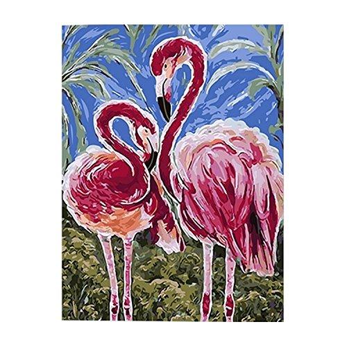 Malen nach Zahlen,BEETEST Malen nach Zahlen Flamingos DIY Ölgemälde Leinwand by Zahlen mit Acrylfarbe für Home Wohnzimmer Büro Bild Decor Dual Flamingos